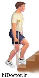 وقتی از عصا استفاده می کنیم چطوری از پله ها بالا و پایین برویم