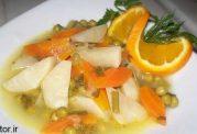 خوراک کلم قمری و پرتقال با روغن زیتون