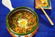 غذای فلفلی با  عدس و تخم مرغ