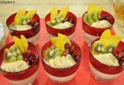 فنجانهای بیسکویت و میوه
