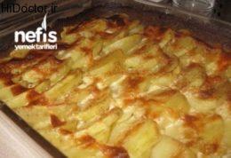 خوراکی از سیب زمینی و خامه در فر