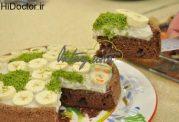 کیک کرم دار و حوضی موز