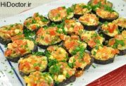 حلقه های بادمجان با پنیر و گوجه فرنگی