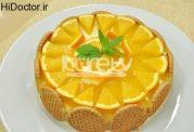 کیک با آرد سمولینا و پرتقال و گردو