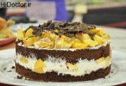 کیک هلو و شکلات تلخ