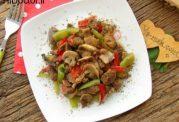آموزش تصویری خوراک گوشت و فلفل و قارچ