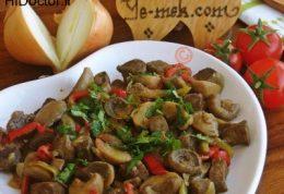 خوراکی از جگر سرخ شده با قارچ