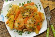 خوراک ران مرغ و سبزیجات بدون فر
