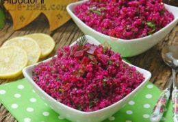 خوراک بلغور با لبوی قرمز