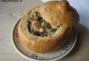 آش در ظرفی از نان