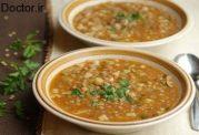 سوپ خوش طعم با پاستا و عدس