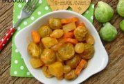 خوراک کلم بروکسل با هویج و سیب زمینی