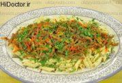 نوع متفاوتی از ماکارونی گوشت و سبزیجات