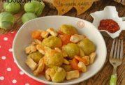 خوراک کلم  بروکسل  با مرغ