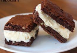 نان بستنی قهوه ای با طعم شکلاتی