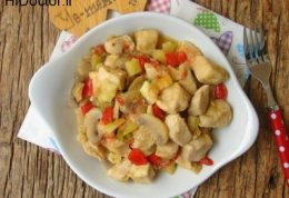 نحوه پخت نوعی خوراک مرغ با سبزیجات