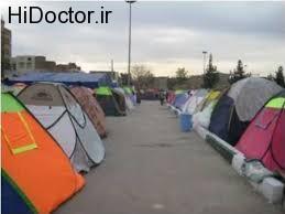 نصب چادرها و اسکان افراد