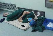 خواب جراح بعد از 28 ساعت کار سخت