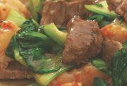 خوراک استیک گوشت و میگو مخصوص زنان باردار