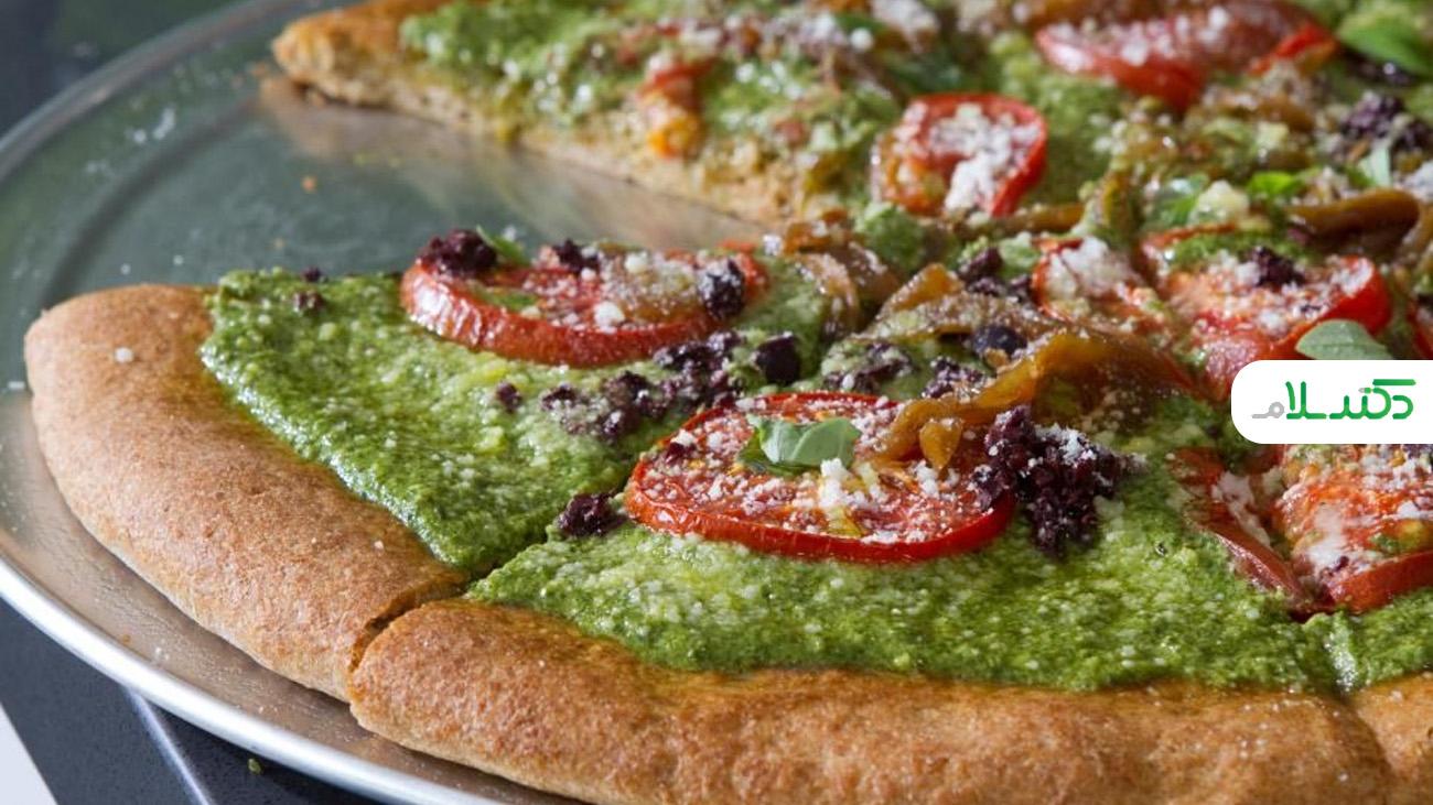 طرز تهیه پیتزای مخصوص برای گیاهخواران + ویدئو